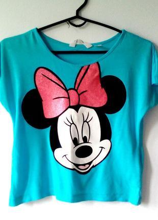 Футболка кроп-топ, укороченная футболка, голубая футболка на девочку 10-12лет
