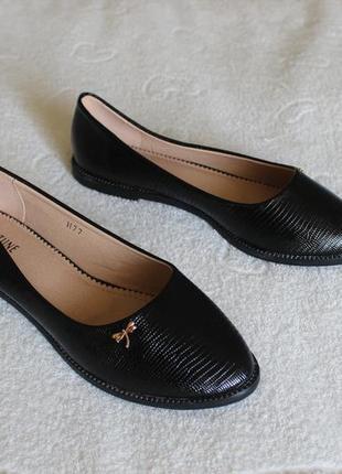 Черные туфли, балетки 39 размера на низком ходу