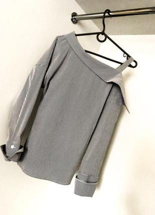 Женская полосатая рубашка блузка на одно плечо длинный рукав в полоску длинный рукав 2021