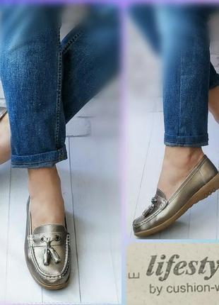 38-39р кожа!новые англия cushion walk,серебристые туфли лоферы,мокасины