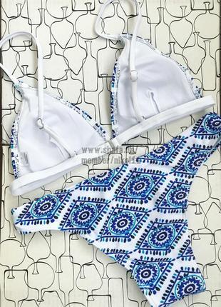 Шикарный белый купальник 💎 с принтом в стиле бохо5 фото