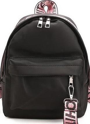 Рюкзак мини черный с розовыми ремешками off однотонный вместительный унисекс