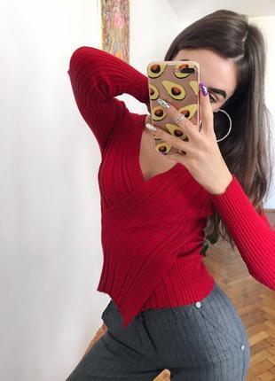 Красная блуза на запах в рубчик червона блузка s m