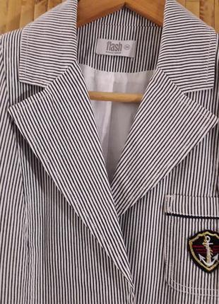 Полосатый в морском стиле коттоновый жакет пиджак в полоску льняной выделки бренд f&f