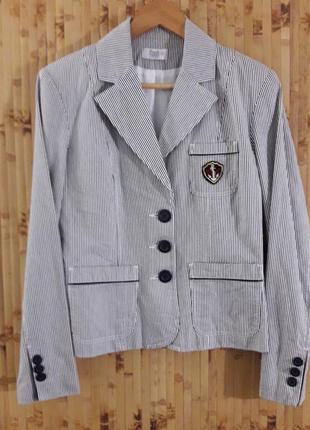 Полосатый в морском стиле коттоновый жакет пиджак в полоску льняной выделки бренд f&f2 фото