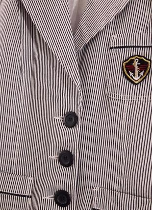 Полосатый в морском стиле коттоновый жакет пиджак в полоску льняной выделки бренд f&f3 фото