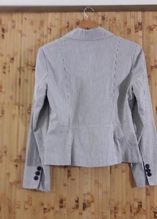 Полосатый в морском стиле коттоновый жакет пиджак в полоску льняной выделки бренд f&f5 фото