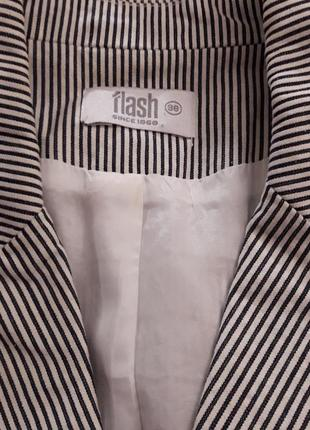 Полосатый в морском стиле коттоновый жакет пиджак в полоску льняной выделки бренд f&f6 фото