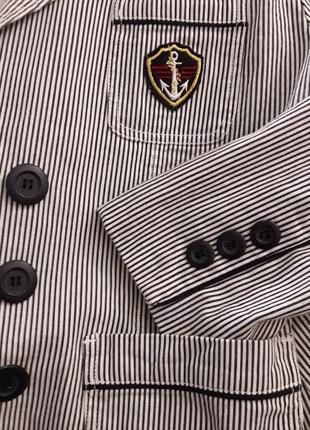 Полосатый в морском стиле коттоновый жакет пиджак в полоску льняной выделки бренд f&f8 фото