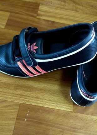 Фирменные стильные балетки туфельки adidas р.37 ст.24см кожа
