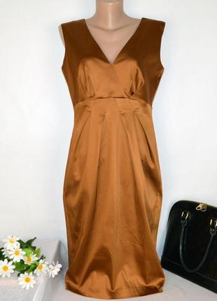 Брендовое бронзовое вечернее нарядное миди платье inwear ацетат этикетка