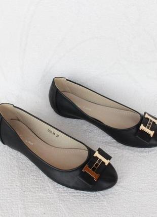 Черные туфли, балетки 36 размера на низком ходу с кожаной серединой