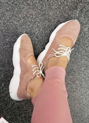 Летние замшевые  кроссовки с перфорацией