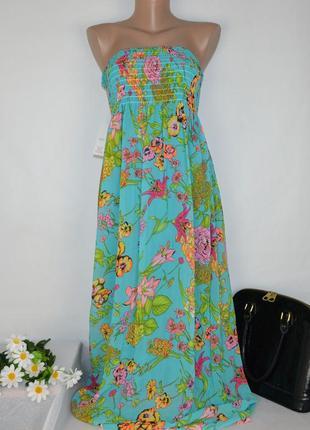 Яркое шифоновое нарядное летнее макси платье mia&mia италия принт цветы этикетка