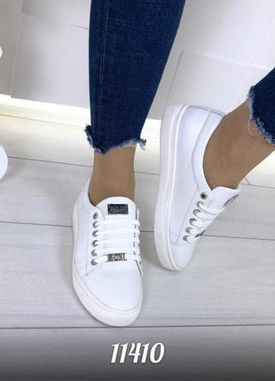 Белые кроссовки из натуральной кожи,белые кожаные кеды,кроссовки в стиле олдскул.