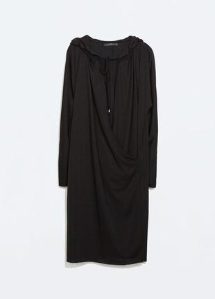 Оригинальное платье-туника с капюшоном zara