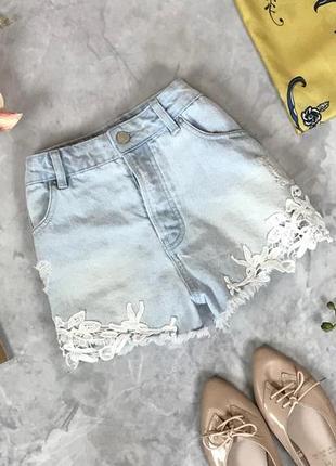 Джинсовые шорты с кружевом  pn1919133 denim co