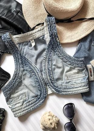 Стильная укороченная джинсовая жилетка джинсовка🔮