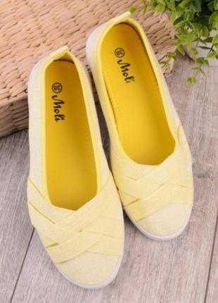 Желтые кеды без шнуровки балетки текстильные