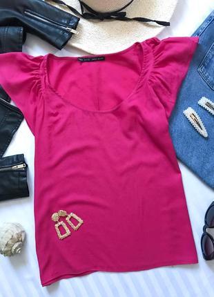 Красивая яркая блуза zara топ с красивыми рукавами-крылышками🎀