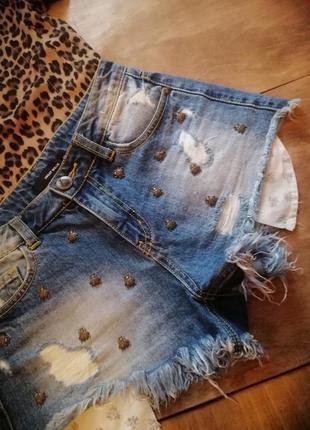 Джинсовые синие короткие шорты tally weijl
