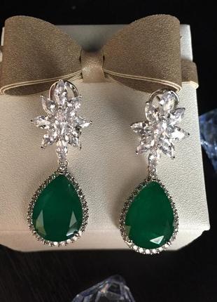 Серебряные серьги кварц зеленый, цирконий