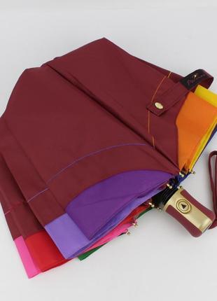 Качественный складной зонт полуавтомат popular 1212-3p бордовый, радуга