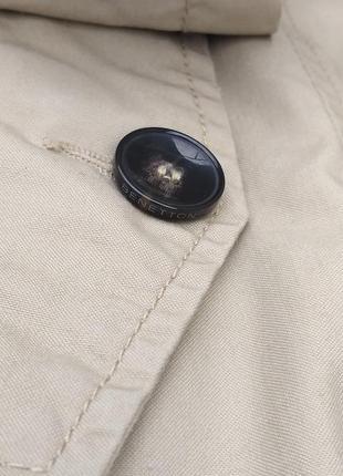 Стильный хлопковый тренч плащ базовый цвет двубортный от united colors of benetton3 фото