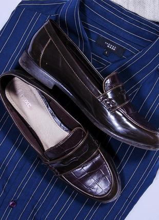 Темно-коричневые лоферы, туфли на низком каблуке next