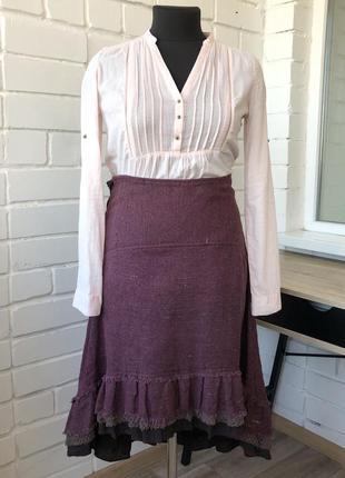 Фиолетовая дизайнерская льняная юбка из дикого шёлка чесуча этно бохо l m л м