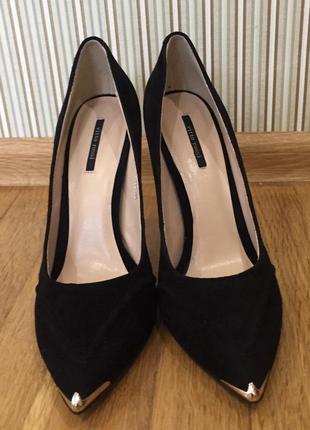 Черные замшевые туфли на шпильке натуральная кожа снаружи и внутри