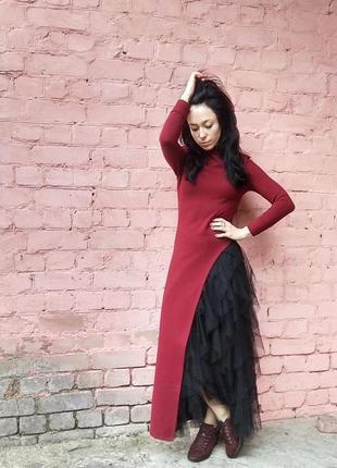 Топ удлиненный с высоким разрезом + фатиновая юбка, muslin