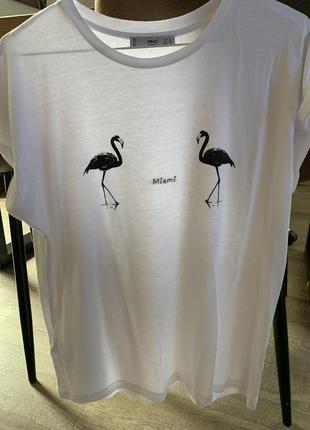 Mango футболка белая miami s 36-38