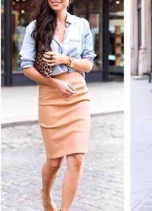 Персиковая юбка-карандаш длины миди. летняя трикотажная юбка карандаш высокая посадка