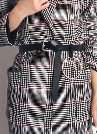 Пояс ремень кожаный с кольцом с круглой бляхой пряжкой унисекс ретро винтажный узкий