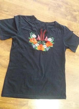 Вышиванка, футболка черная р.46-48