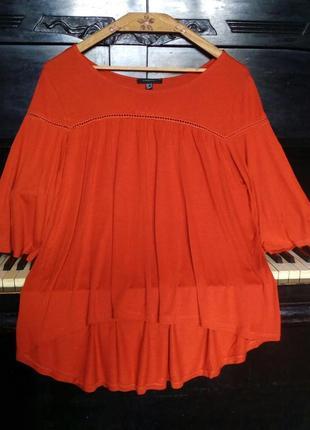 Очень шикарная насыщенного цвета блуза,спереди короче