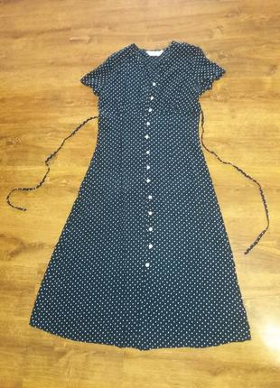 Легчайшее темно-синее макси платье в горошек