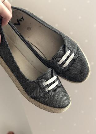 Классные легкие удобные туфли балетки кеды эспадрильи с люрексом