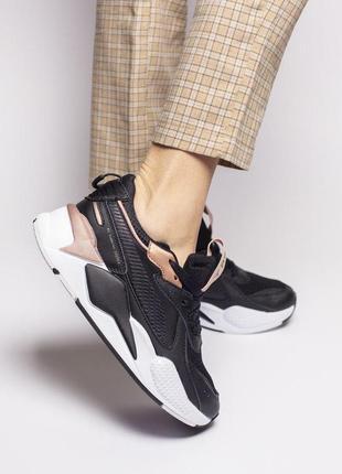 Шикарные женские кожаные кроссовки puma rs-x черного цвета 😍 (весна/ лето/ осень)