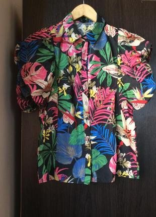 Рубашка 👚 новая с тропическим принтом stradivarius