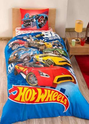 Детское/подростковое постельное белье tac hot wheels ранфорс постель хот вилс