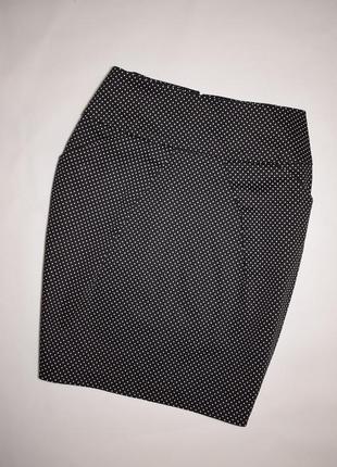 Коттоновая черная юбка карандаш в горох dorothy perkins