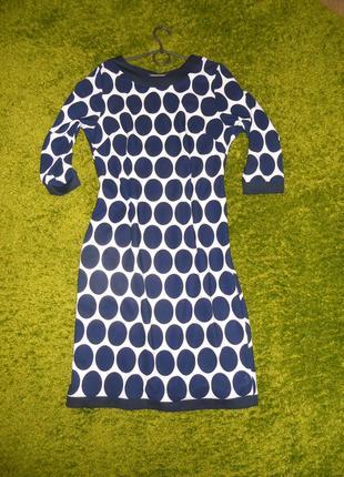 Платье в темно синий горох