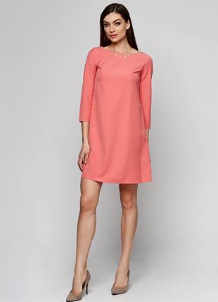 Розовое платье мини daminika