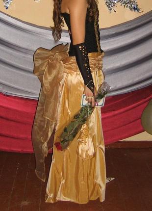 Выпускное платье юбка в пол шлейф золотая с бантом для выступлений юбка в пол