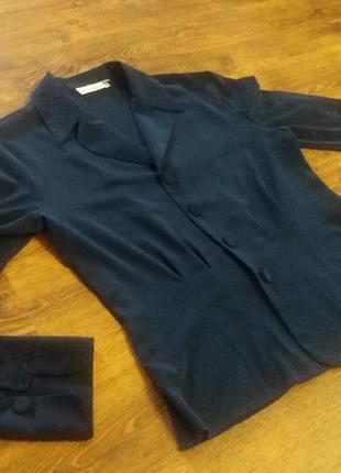 Пиджак приталенный, блейзер темно-синий