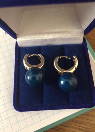 Сережки з натуральним каменем і перстень в комплект