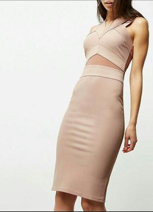Шикарное бандажное платье-миди,  платье футляр