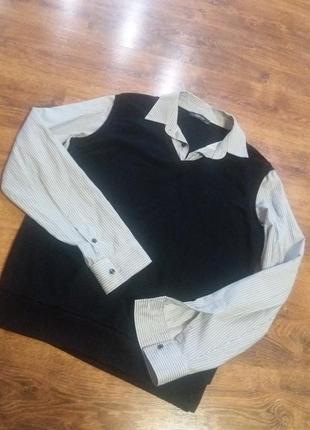 Рубашка с имитацией жилетки